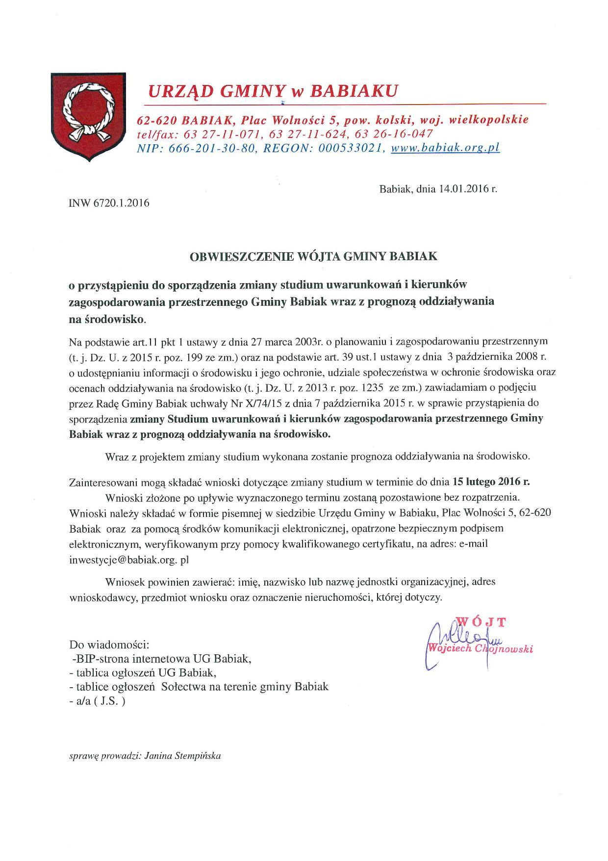 Obwieszczenie Wójat Gminy Babiak w sprawie przystąpienia do zmiany zmiany studium uwarunkowań i kierunków zagospodarowania przestrzennego Gminy Babiak wraz z prognozą oddziaływania na środowisko.