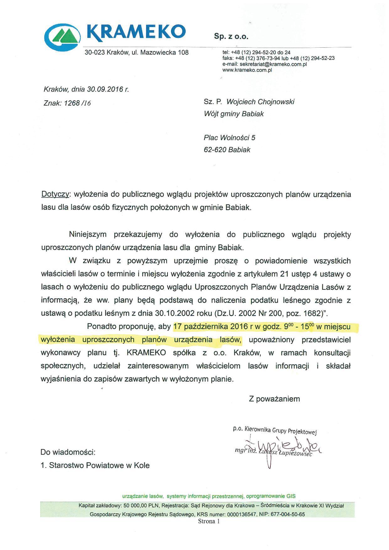 Pismo dotyczące wyłożenia do publicznego wglądu projektów uproszczonych planów urządzania lasu dla lasów osób fizycznych położonych e gminie Babiak.
