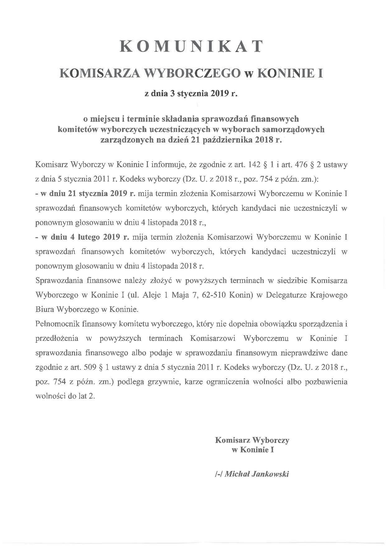 Komunikat Komisarza Wyborczego dotyczący miejsca i terminu składania sprawozdań finansowych komitetów wyborczych.